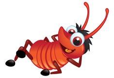 Groot Rood Insect met het Ontspannen van de Grijns Royalty-vrije Stock Fotografie