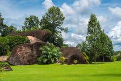 Groot rotsen en gras in de blauwe hemel Royalty-vrije Stock Foto