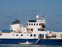 Groot schip en tedere boot Royalty-vrije Stock Afbeeldingen