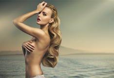Groot schot van sensuele blondedame Stock Foto