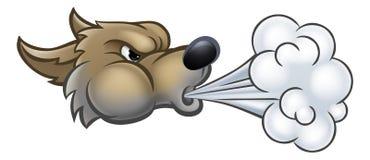 Groot Slecht Wolf Blowing stock illustratie