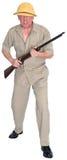 Groot Spel Safari Hunter Isolated Stock Foto