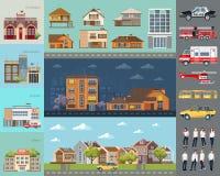 Groot stadsconcept De infrastructuurvector plaatste met koffie, school, luchthaven, brandweerkazerne en andere gebouwen Royalty-vrije Stock Afbeelding