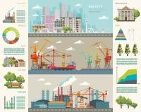 Groot stadsconcept Infographic vector Stock Fotografie
