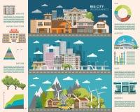 Groot stadsconcept Infographic vector Reeks Stadsgebouwen Stock Foto