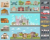 Groot stadsconcept Infrastructuur vectorreeks Royalty-vrije Stock Afbeelding