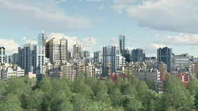 Groot stadsdistrict met parkstreek bij dag4k stock video