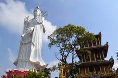 Groot standbeeld van Bodhisattva bij de Boeddhistische tempel van Chau Thoi, Binh Duo Royalty-vrije Stock Foto
