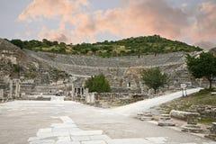 Groot theater in de oude stad van Ephesus Royalty-vrije Stock Fotografie
