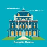 Groot theater of theater De bouw voor vermaak Groot voor oriëntatiepunt en cultuurvrije tijd, prestatiesthema Vector Royalty-vrije Stock Foto's