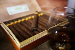 Groot vakje van Cubaanse sigaren op een houten lijst Royalty-vrije Stock Foto's