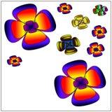 Groot van mooie kleurrijke bloemen Stock Fotografie