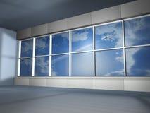 Groot venster en vliegvliegtuig Royalty-vrije Stock Foto's