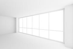 Groot venster in lege witte bedrijfsbureauruimte royalty-vrije illustratie