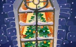 Groot venster in sneeuw in Kerstavond Royalty-vrije Stock Fotografie
