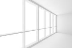 Groot venster in witte lege bedrijfsbureauruimte stock illustratie