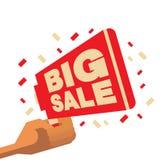 Groot verkoopsymbool voor affiche Vectorillustratie vlak ontwerp Stock Foto