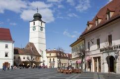 Groot vierkant in Sibiu Roemenië Royalty-vrije Stock Foto