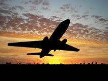 Groot vliegtuig over zonsondergang stock illustratie