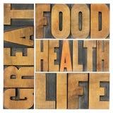 Groot voedsel, gezondheid en het leven Stock Afbeelding