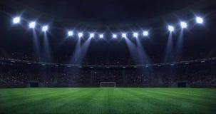 Groot voetbalstadion bij nacht met licht die zich als naadloze lijn bewegen stock video