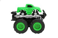 Groot vrachtwagenstuk speelgoed met grote die wielen, bigfoot, monstervrachtwagen op witte achtergrond wordt geïsoleerd Stock Afbeeldingen