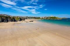 Groot Westelijk Strand Newquay Cornwall Engeland royalty-vrije stock afbeeldingen