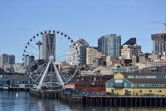 Groot Wiel op Waterkant, Seattle, Washington Stock Afbeelding