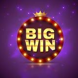 Groot win Affiche van de het spelloterij van het prijsetiket de winnende Het geldpot die van het casinocontante geld de vectorban stock illustratie