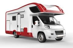 Groot wit en rood kampeerautovoertuig Stock Foto