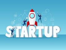 Groot woord Startconcept Zakenmanopstarten met raket, pictogrammen en element Stock Afbeelding