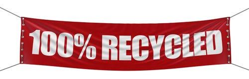 Groot & x22; 100% Recycled& x22; banner met de textuur van de stoffenoppervlakte Stock Afbeeldingen