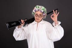Grootmoeder in defensie royalty-vrije stock fotografie