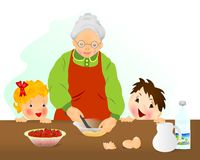 Grootmoeder die cake voorbereidt royalty-vrije illustratie