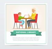 Grootmoeder die een boek aan kleinzoon in bibliotheek, vlak vectorillustratieelement voor website of mobiele app lezen vector illustratie