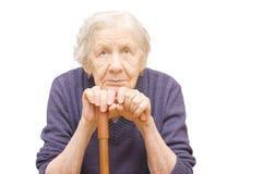 Grootmoeder die een riet houdt stock afbeeldingen