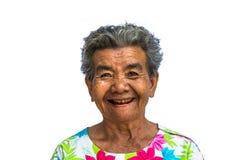 Grootmoeder die zich met geïsoleerde witte achtergrond bevinden Stock Afbeelding