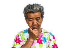 Grootmoeder die zich met geïsoleerde witte achtergrond bevinden Royalty-vrije Stock Foto