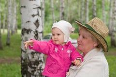Grootmoeder en baby stock foto