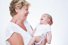 Grootmoeder en baby Stock Afbeelding