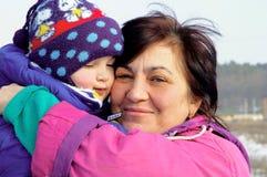 Grootmoeder en de kleinzoon Stock Afbeelding