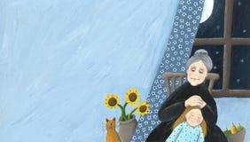 Grootmoeder en granddaughterat huis stock illustratie