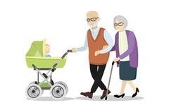 Grootmoeder en grootvader met een kinderwagen en baby vector illustratie