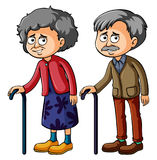 Grootmoeder en grootvader met walkingstick royalty-vrije illustratie