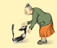 Grootmoeder en kat Stock Foto