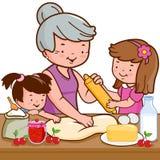 Grootmoeder en kinderen die in de keuken koken stock illustratie