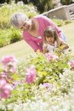 Grootmoeder en kleindochter in openlucht in tuin stock afbeelding