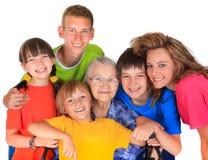Grootmoeder en kleinkinderen stock afbeelding