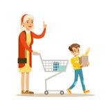 Grootmoeder en Kleinzoon die, Gelukkige Familie die Goede Tijd samen Illustratie hebben winkelen vector illustratie