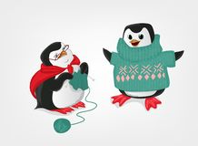 Grootmoeder en kleinzoonpinguïn vectorillustratie stock illustratie